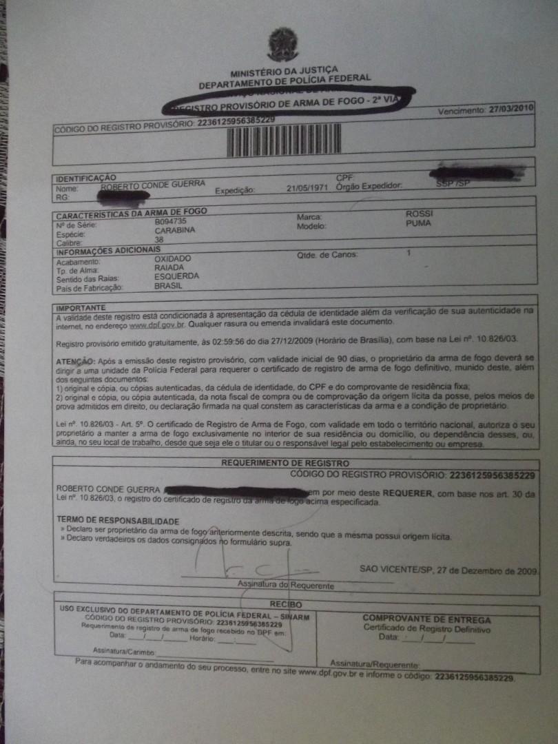 Registro Provisório  Puma