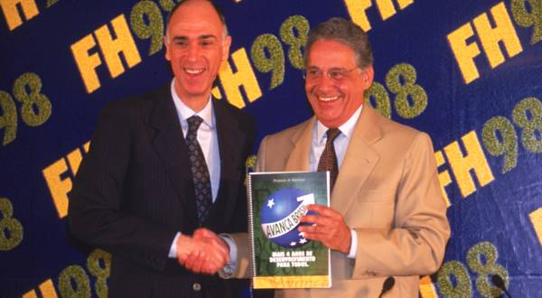 Marco Maciel e Fernando Henrique Cardoso no lançamento do programa de governo, na Academia de Tênis de Brasília.